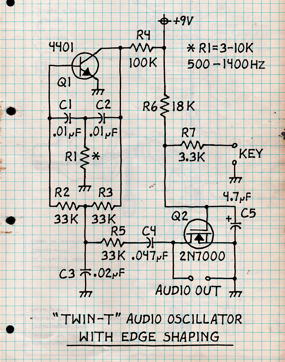 Twin-T Shaped Audio Oscillator